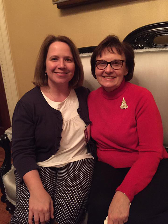 RSCAA Board Member Carrie Cokely '97 and Member of The Sage Colleges Board of Trustees Marilyn Miller Fowler at a reception at Vail House in December.