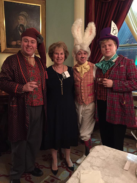 The cast of the Theatre Institute at Sage's Alice in Wonderland mingled with alumnae at a pre-performance tea party at Vail House in December. Pictured: Elaine Cohen Freedman with cast members.