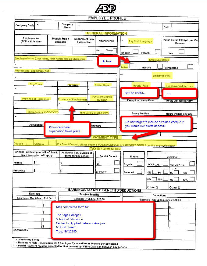 Applied Behavior Analysis Practicum Supervisor Resources and Forms – Direct Deposit Authorization Form Examples