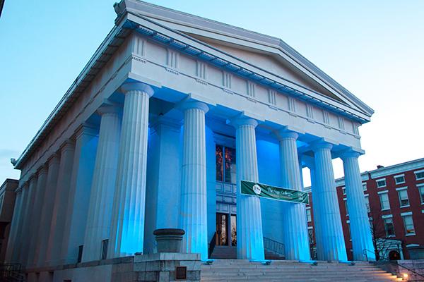 Bush Memorial Lights Up Blue