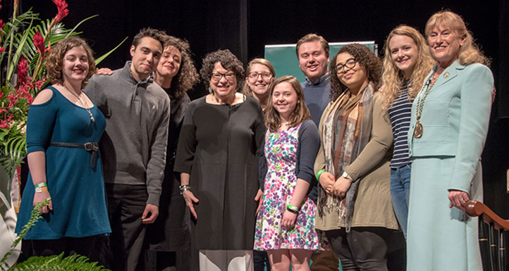 Sonia Sotomayor with Sage Students and President Susan Scrimshaw