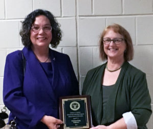 Kathryn Gerbino, the 2017 Adjunct of the Year, with Susan Beatty, Provost of The Sage Colleges