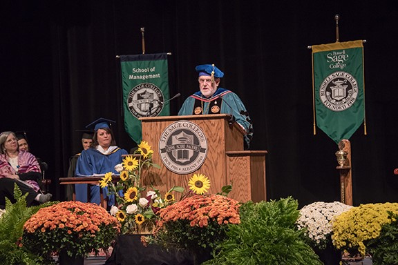 President Ames delivers his inauguration address in October 2017.