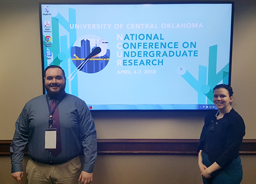 Zachary Bishop SCA '18 and Cydney Rogers RSC '18 at the National Conference on Undergraduate Research