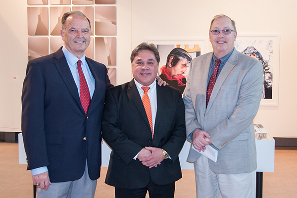 Esteves School of Education Dean John Pelizza, Stanley Harper and Alumni Association member Richard Rose