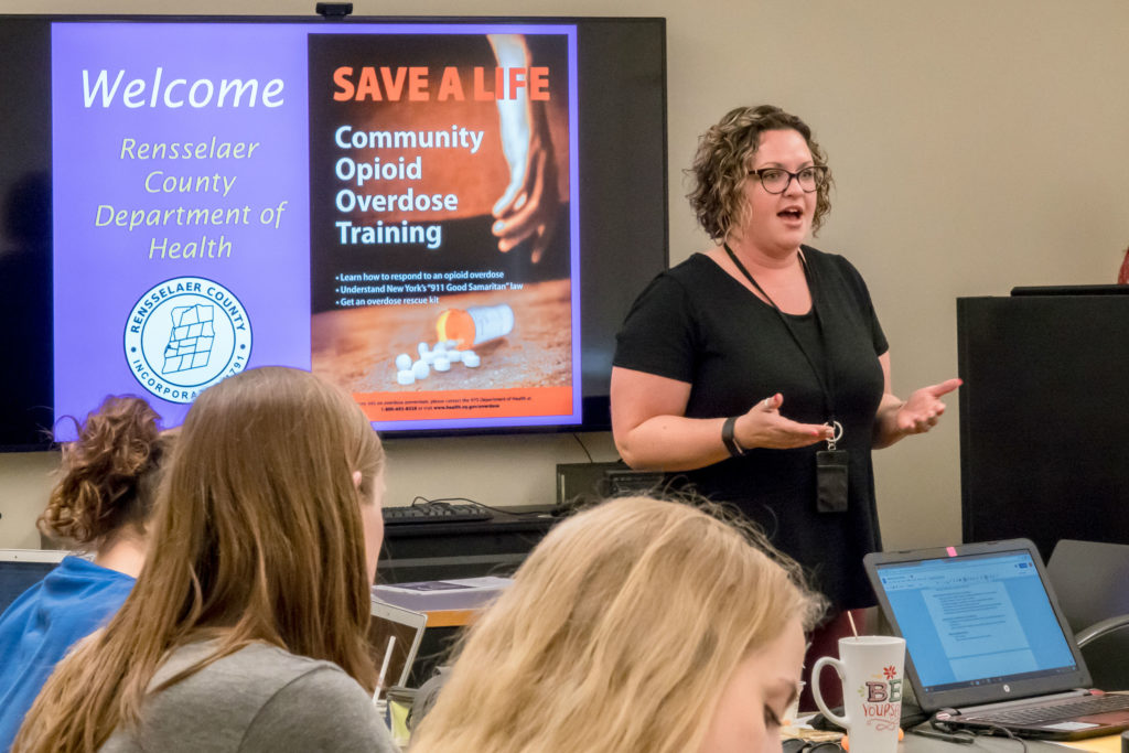 Kelsey M. Sargood, public health educator at the Rensselaer County Department of Health, leads naloxone education at The Sage Colleges.