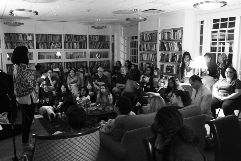 Poet Sueyeun Juliett Reads at Sage in fall 2017.