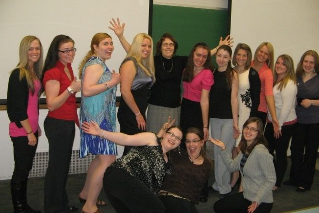 Dr. Mary Rea with a class group.