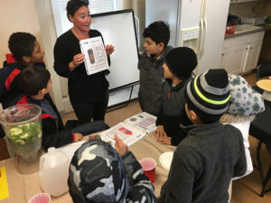 A food-based English language lesson for children at the Refugee Welcome Center in Albany.