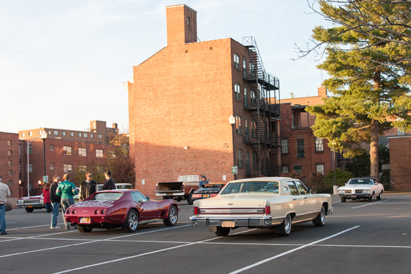 1970s and 80s era cars on campus for the filming of James Franco's The Pretenders in November 2016.