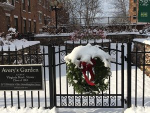 Holiday wreath on the gate of Avery's Garden.