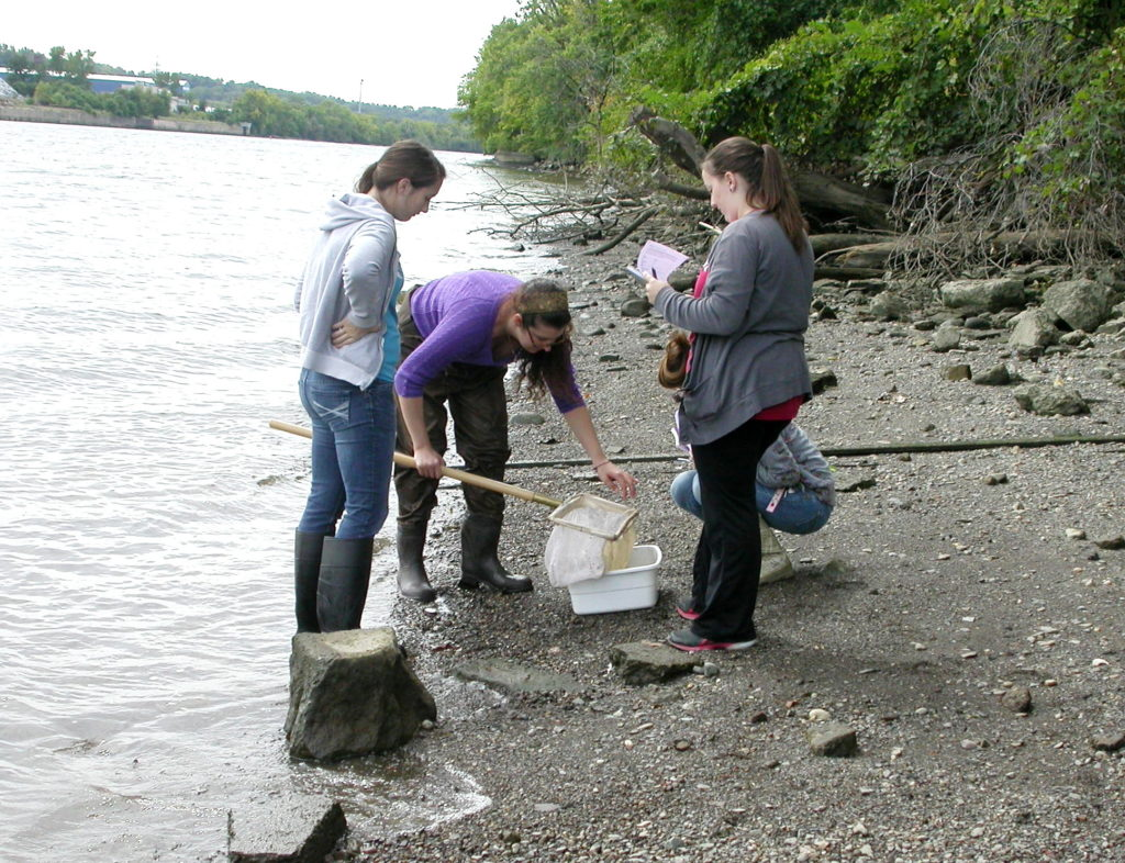 Biology Students on a field trip on the Hudson river.