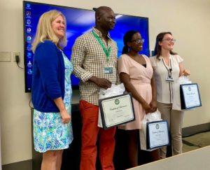 CSTEP Associate Director Kathleen Smith, Amos Amoak '21, Dorcas Talyowe '20 and Cassidy Taranto '20