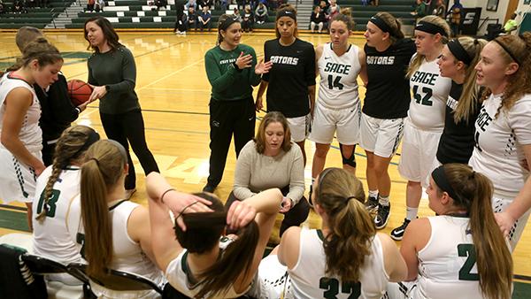 Coach Allison Coleman guides her student-athletes during the women's basketball 2019-2020 season opener against Albertus Magnus College. Photo:Matt Milless.
