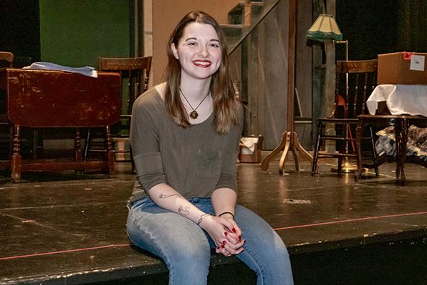 Kaitlyn Kern on set in Meader Little Theater