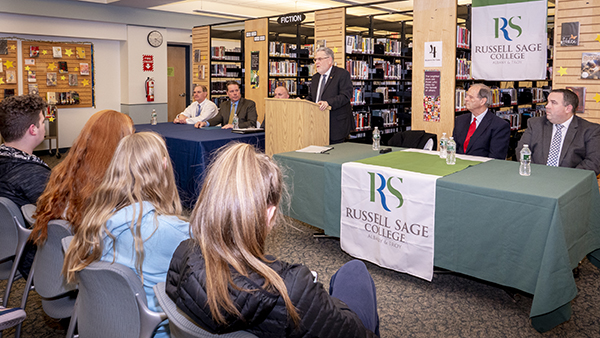 Sage President Christopher Ames visited Columbia High School on Monday, Feb. 10, to announce a new early assurance agreement for Columbia High School students who want to study Education at Sage.