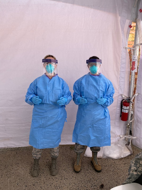 SSgt Silvernail and SrA Blauvelt in personal protective equipment