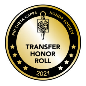 2021 Transfer Honor Roll badge from Phi Theta Kappa, which recognized Sage as a destination for transfer students.
